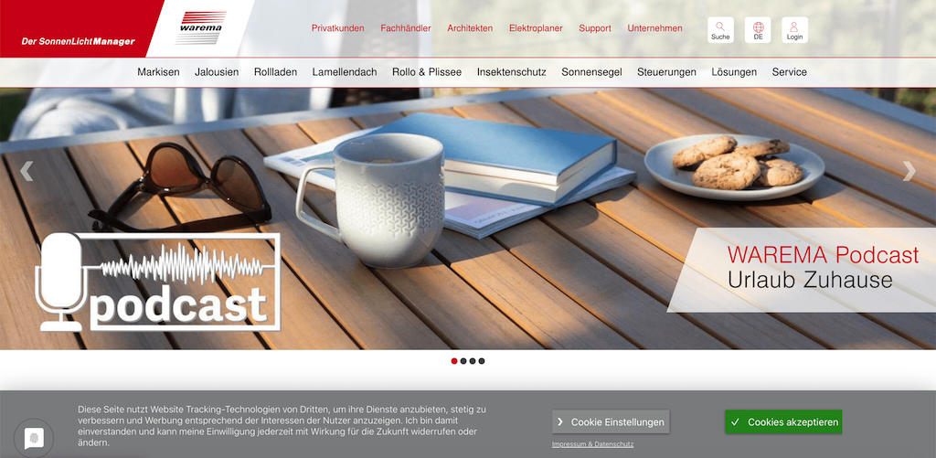 Example of a website with a less prominent cookie banner